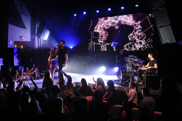 The Script performs during the Y-100 pre Jingelball Party at Liv Nightclub held at the Fontainebleau.